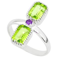 925 sterling silver 2.82cts natural green peridot amethyst ring size 9 t5584