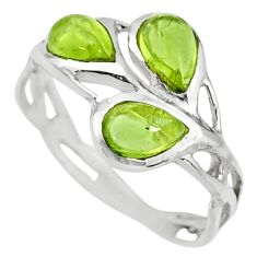 925 sterling silver 2.98cts natural green peridot ring jewelry size 6.5 r25304