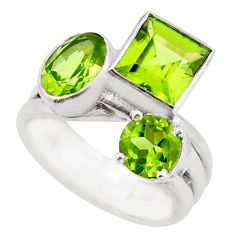 925 sterling silver 6.72cts natural green peridot ring jewelry size 6 d46368
