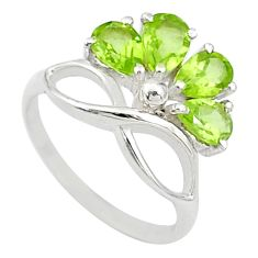 925 sterling silver 2.73cts natural green peridot ring jewelry size 5.5 t10576