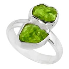 925 sterling silver 8.91cts natural green peridot rough fancy ring size 7 r51811