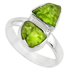 925 sterling silver 8.84cts natural green peridot rough fancy ring size 8 r51820