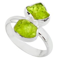925 sterling silver 9.56cts natural green peridot rough ring size 9 r51733