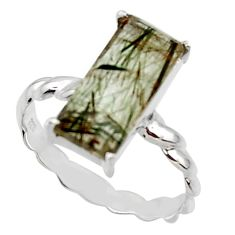 925 sterling silver 5.06cts natural green rutile solitaire ring size 9.5 r48816