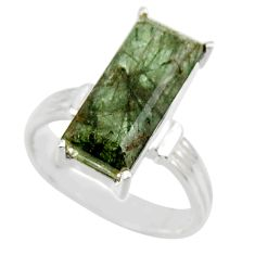 925 sterling silver 6.10cts natural green rutile solitaire ring size 7 r48812