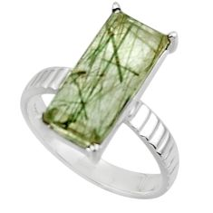 925 sterling silver 5.81cts natural green rutile solitaire ring size 7 r48837
