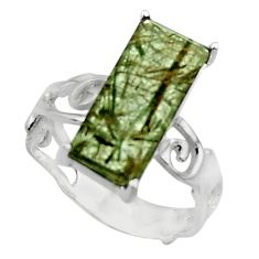 925 sterling silver 5.23cts natural green rutile solitaire ring size 7 r48839
