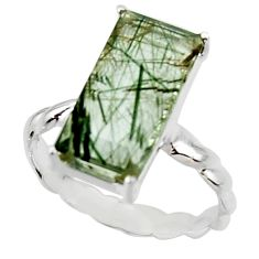 925 sterling silver 5.06cts natural green rutile solitaire ring size 8 r48804