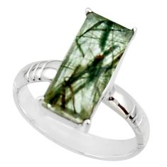 925 sterling silver 6.36cts natural green rutile solitaire ring size 9 r48808