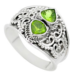 925 sterling silver 1.81cts natural green tourmaline heart ring size 7 t44883