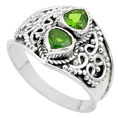 925 sterling silver 1.75cts natural green tourmaline heart ring size 8 t44888
