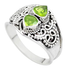 925 sterling silver 1.80cts natural green tourmaline heart ring size 8.5 t44892