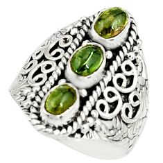925 sterling silver 3.21cts natural green tourmaline oval ring size 8.5 r22505