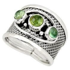 925 sterling silver 2.59cts natural green tourmaline round ring size 7.5 d45947