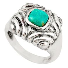 925 sterling silver natural green turquoise tibetan ring size 7.5 c10612