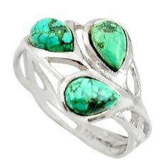 925 sterling silver 2.70cts natural green turquoise tibetan ring size 4.5 r25311