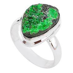 925 sterling silver 5.82cts natural green uvarovite garnet ring size 6.5 t2056