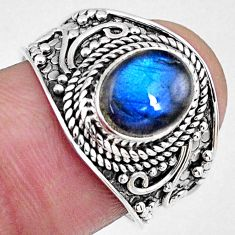 925 sterling silver 3.26cts natural labradorite solitaire ring size 7.5 r58558