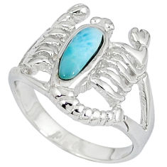 925 sterling silver natural larimar scorpion charm ring size 7 a33048 c15196