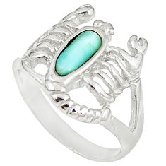 925 sterling silver natural larimar scorpion charm ring size 8 a60713 c15193