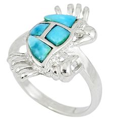 925 sterling silver natural larimar white topaz crab ring size 7 a33026 c15156
