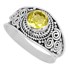 925 sterling silver 2.90cts natural lemon topaz solitaire ring size 8.5 r57994