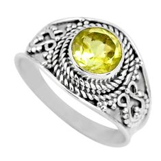 925 sterling silver 2.60cts natural lemon topaz solitaire ring size 8.5 r57999