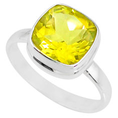 925 sterling silver 5.39cts natural lemon topaz solitaire ring size 9.5 r77938