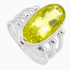 925 sterling silver 8.27cts natural lemon topaz solitaire ring size 7 r55988