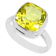 925 sterling silver 5.39cts natural lemon topaz solitaire ring size 7 r77933
