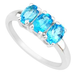925 sterling silver 2.96cts natural london blue topaz oval ring size 9 r82744