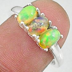 925 sterling silver 2.96cts natural multi color ethiopian opal ring size 7 t8847