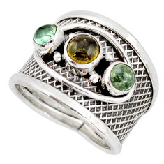 925 sterling silver 2.33cts natural multi color tourmaline ring size 6.5 d45930