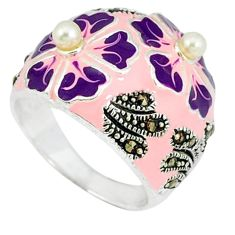925 sterling silver natural white pearl marcasite enamel ring size 7 c18249