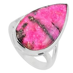 925 sterling silver 11.18cts natural pink cobalt calcite pear ring size 6 r66057