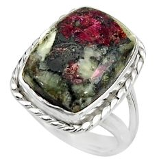 925 sterling silver 10.89cts natural pink eudialyte solitaire ring size 7 r26464