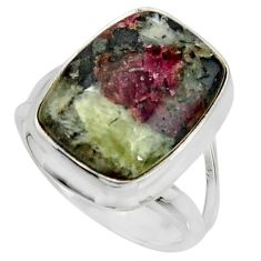 925 sterling silver 10.37cts natural pink eudialyte solitaire ring size 7 r26468
