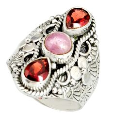 925 sterling silver 4.32cts natural pink kunzite red garnet ring size 7.5 r19169