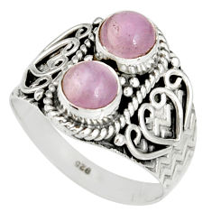 925 sterling silver 2.63cts natural pink kunzite ring jewelry size 9 r19176