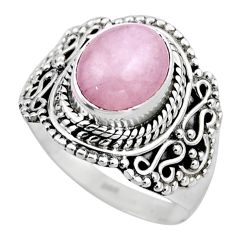 925 sterling silver 4.22cts natural pink kunzite solitaire ring size 7.5 r53520