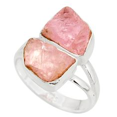925 sterling silver 10.31cts natural pink morganite rough ring size 7 r38288