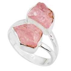 925 sterling silver 10.02cts natural pink morganite rough ring size 7 r38300