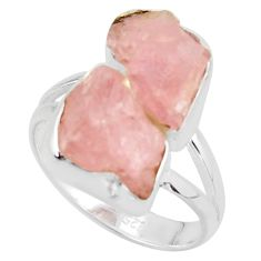 925 sterling silver 11.21cts natural pink morganite rough ring size 8 r38296