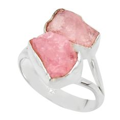 925 sterling silver 11.07cts natural pink morganite rough ring size 8 r49074