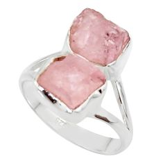 925 sterling silver 10.78cts natural pink morganite rough ring size 9 r49071