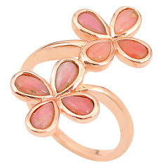 925 sterling silver natural pink opal 14k rose gold ring size 8 a76315 c15044