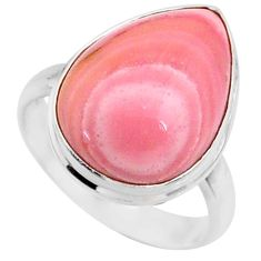 925 sterling silver 12.55cts natural pink opal pear solitaire ring size 8 r66186