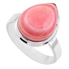 925 sterling silver 9.98cts natural pink opal pear solitaire ring size 9 r66177