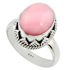 925 sterling silver 5.28cts natural pink opal solitaire ring size 8 r22014