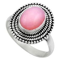 925 sterling silver 4.05cts natural pink opal solitaire ring size 8 r53124